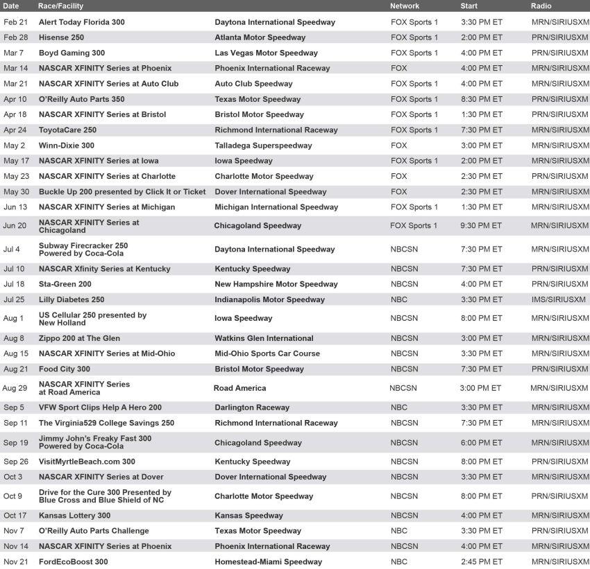 nascar 2015 schedule Gallery