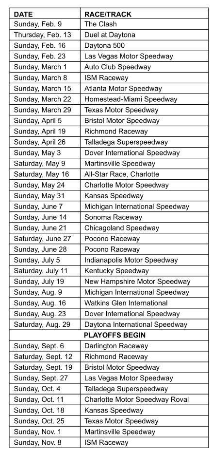 2020 Nascar Cup Series Schedule
