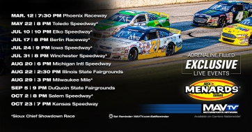 MAVTV Announces Exclusive Live Broadcast Schedule for 2021 ARCA Menards Season