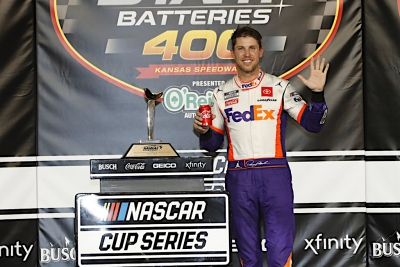 Denny Hamlin outduels former NASCAR Cup champions for dramatic Kansas victory