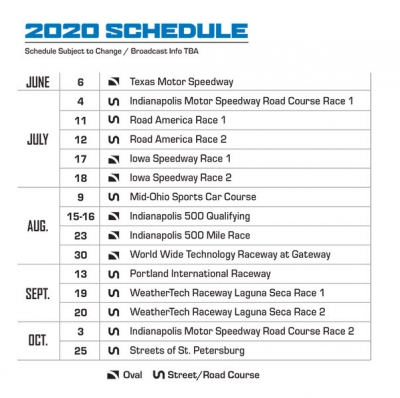 INDYCAR announces updated 2020 series schedule