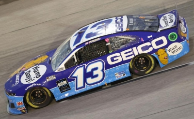 Ty Dillon and the GECKO hump day car lead at Darlington