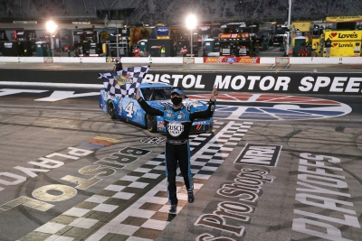 Kevin Harvick celebrates his win at Bristol Motor Speedway, September 19th, 2020